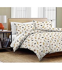 Pointehaven Winter Dogs 3-pc. Flannel Duvet Set