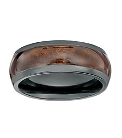 Black Zirconium Ring with Wood Inlay