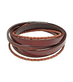 Brown Leather Wrap Bracelet with Black-plated Stainless Steel Magnetic Lock
