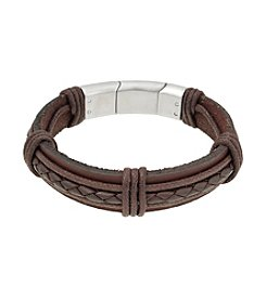 Brown Leather Bracelet with Stainless Steel Magnetic Lock