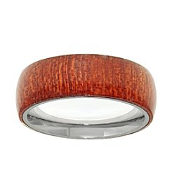 Stainless Steel Ring with Wood Inlay