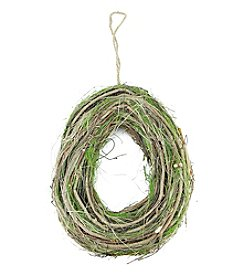 Artificial Egg-Shaped Spring Wreath with Brown Grapevine and Green Moss