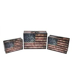 Rustic American Flag Set of 3 Decorative Wooden Storage Boxes