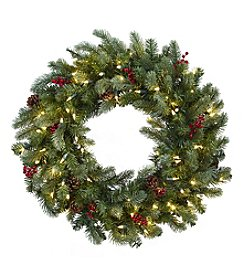 Nearly Natural® Lighted Pine Wreath with Berries and Pine Cones