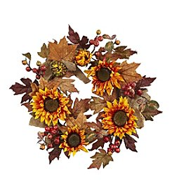 Nearly Natural® Sunflower and Berry Wreath