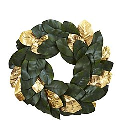 Nearly Natural® Golden Leaf Magnolia Wreath