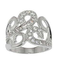 Athra Silver-Plated Scroll Ring with Cubic Zirconia stones