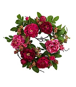 Nearly Natural® Peony and Berry Wreath