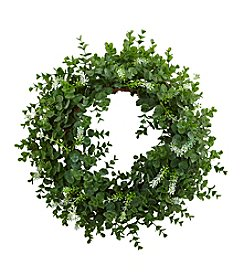 Nearly Natural® Eucalyptus Double Ring Wreath with Twig Base