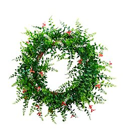 Nearly Natural® Floral and Fern Double Ring Wreath with Twig Base