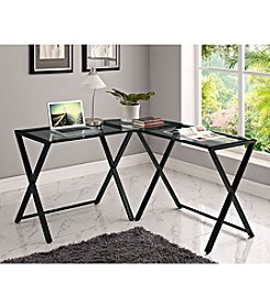 W.Designs X-frame Glass and Metal L-Shaped Computer Desk