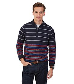 Nautica® Men's Striped Fair Isle Quarter-Zip Sweater