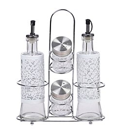 PURELIFE™ by Ragalta® 5-pc. Glass Condiment Set with Stainless Steel Rack
