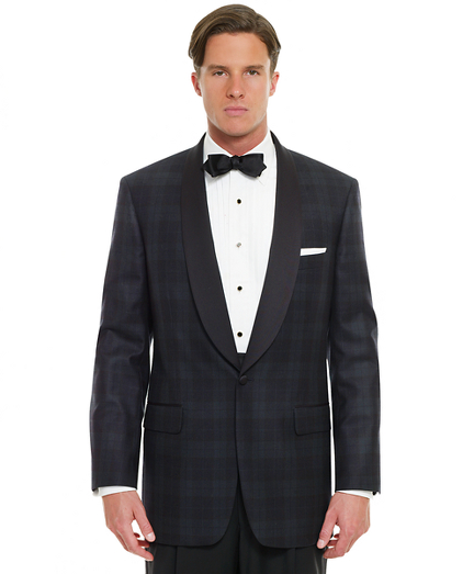 1950s Tuxedos and Men's Wedding Suits Black Watch Shawl Collar Dinner Jacket $898.00 AT vintagedancer.com