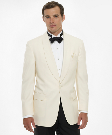 1950s Tuxedos and Men's Wedding Suits White Dinner Jacket $898.00 AT vintagedancer.com