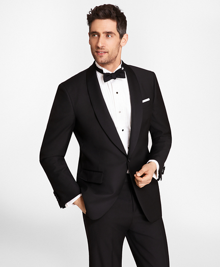 1950s Tuxedos and Men's Wedding Suits One-Button Shawl Collar Tuxedo Jacket $898.00 AT vintagedancer.com