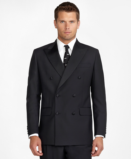 1950s Tuxedos and Men's Wedding Suits Double-Breasted Tuxedo Jacket $898.00 AT vintagedancer.com
