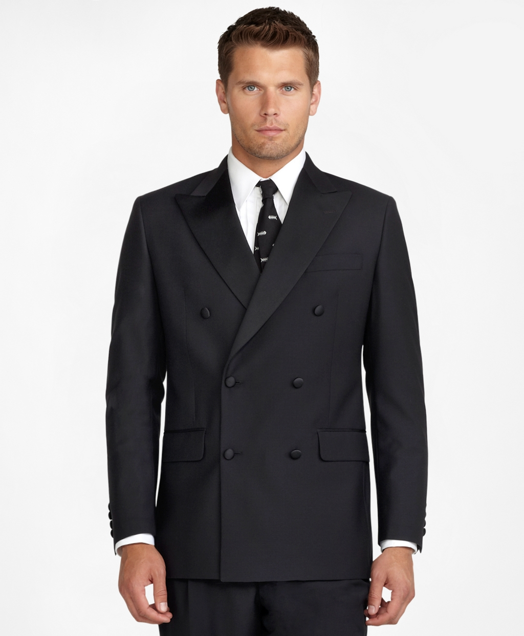 New Vintage Tuxedos, Tailcoats, Morning Suits, Dinner Jackets Brooks Brothers Mens Double-Breasted Tuxedo Jacket $898.00 AT vintagedancer.com