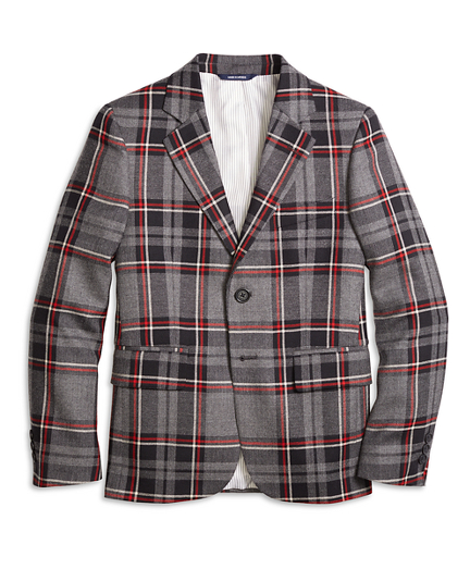 Vintage Style Children's Clothing: Girls, Boys, Baby, Toddler Boys Two-Button Plaid Wool Suit Jacket $91.20 AT vintagedancer.com