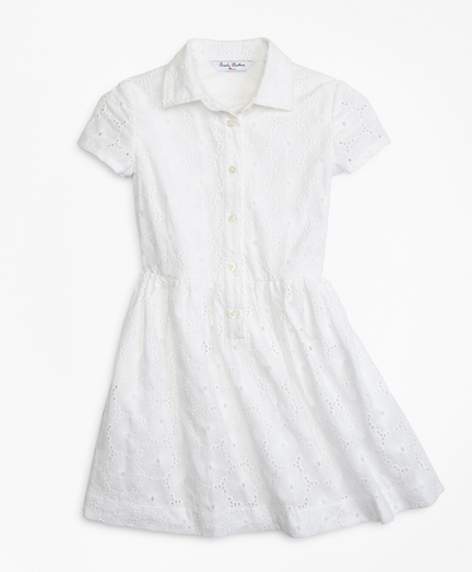 1940s Children's Clothing: Girls, Boys, Baby, Toddler Cotton Eyelet Shirred Dress $49.00 AT vintagedancer.com