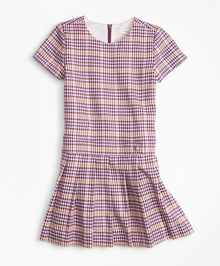Vintage Style Children's Clothing: Girls, Boys, Baby, Toddler Girls Short-Sleeve Houndstooth Dress $49.00 AT vintagedancer.com