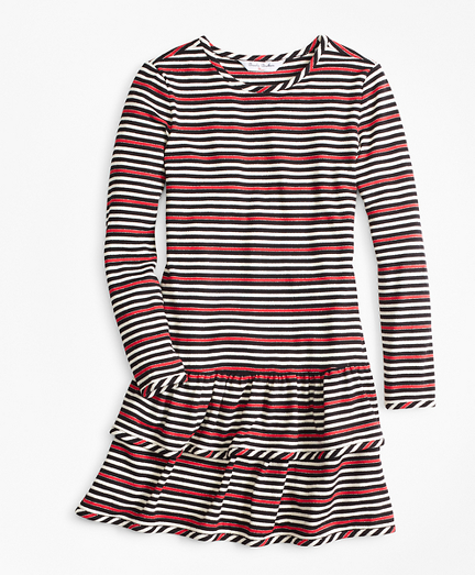 Vintage Style Children's Clothing: Girls, Boys, Baby, Toddler Girls Striped Ruffle Knit Dress $39.00 AT vintagedancer.com