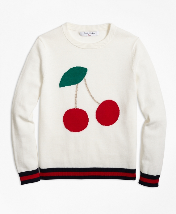 Kids 1950s Clothing & Costumes: Girls, Boys, Toddlers Cotton Crewneck Cherry Intarsia Sweater $68.00 AT vintagedancer.com