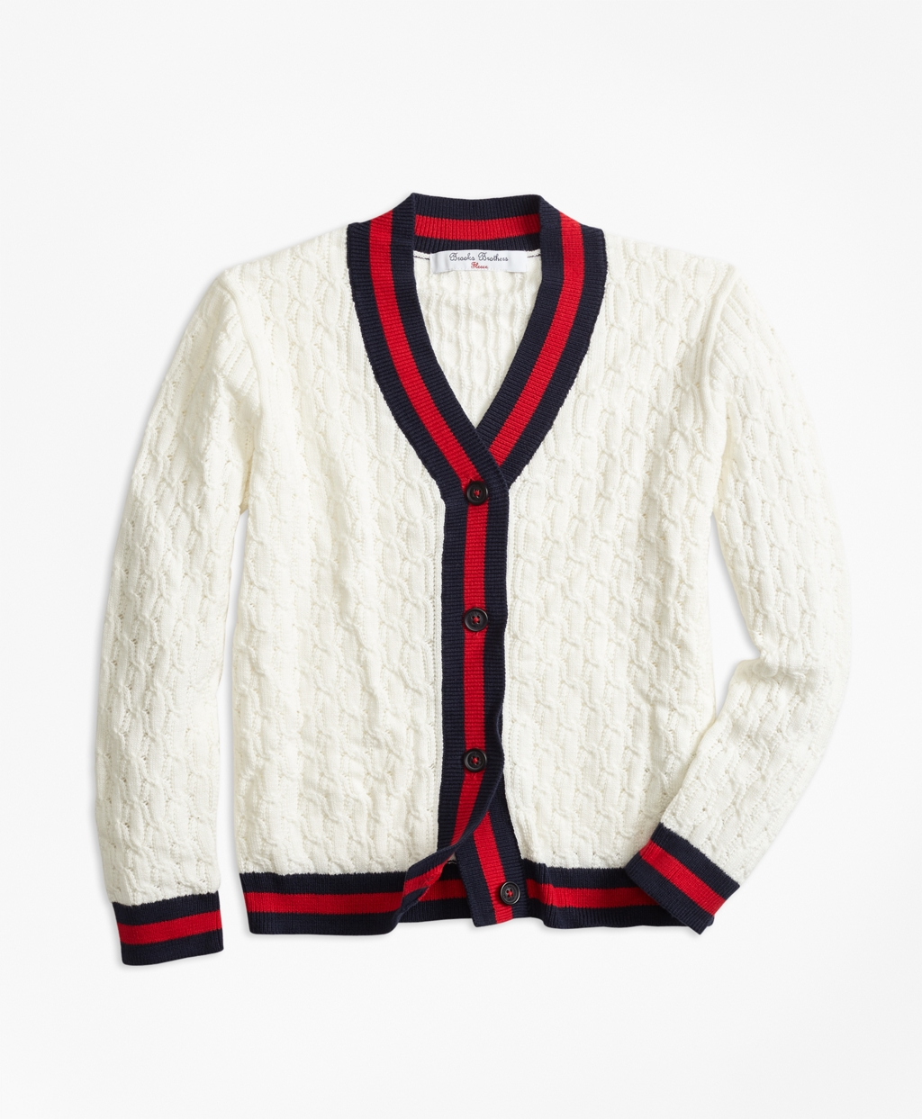1920s Children Fashions: Girls, Boys, Baby Costumes Brooks Brothers Girls Cotton Tipped Cardigan $68.00 AT vintagedancer.com