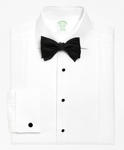 Victorian Men's Tuxedo, Tailcoats, Formalwear Guide Milano Fit Bib-Front Spread Collar Tuxedo Shirt $135.00 AT vintagedancer.com