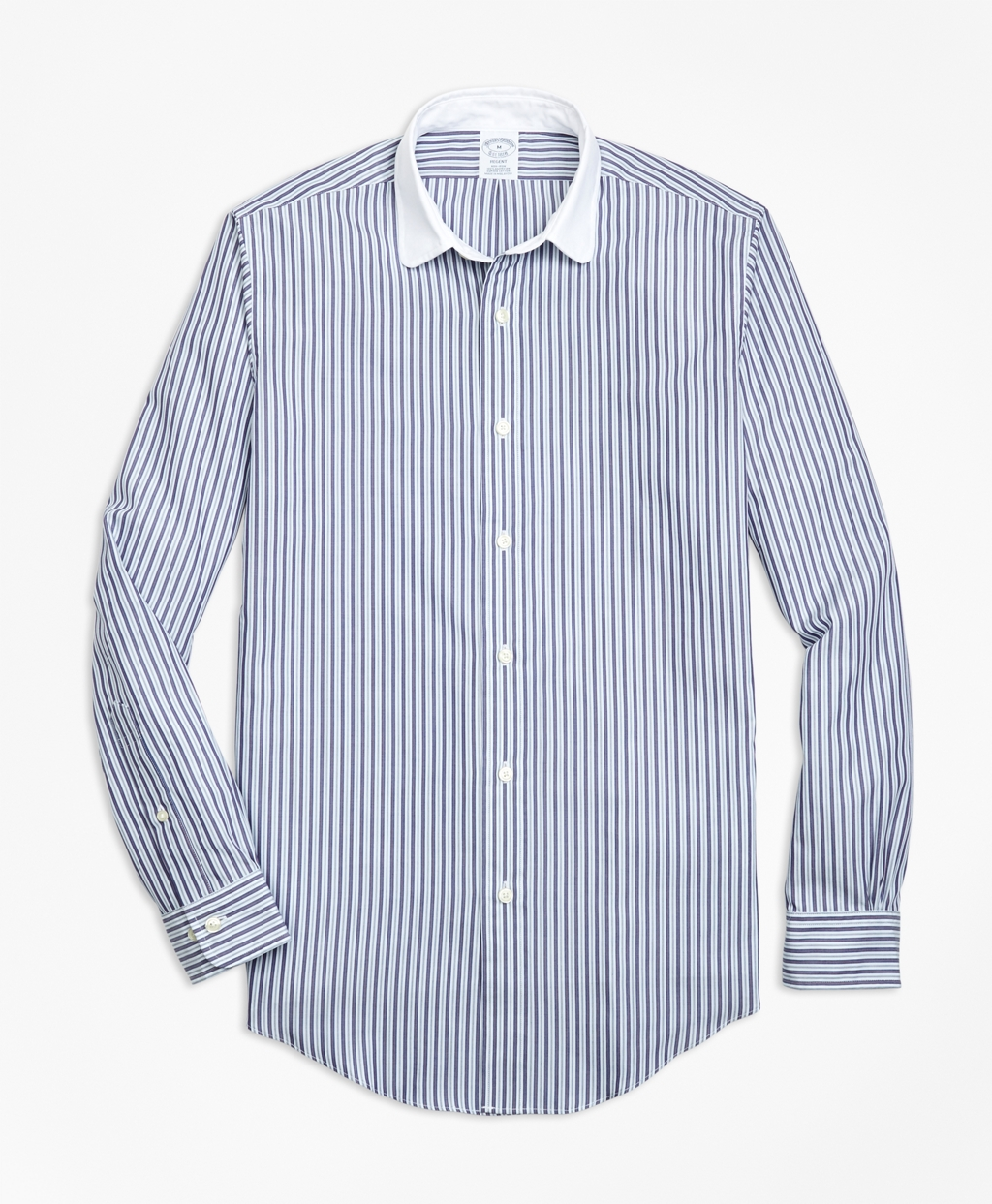 1920s Style Mens Shirts | Peaky Blinders Shirts and Collars Brooks Brothers Regent Fit Multi-Stripe Sport Shirt $92.00 AT vintagedancer.com