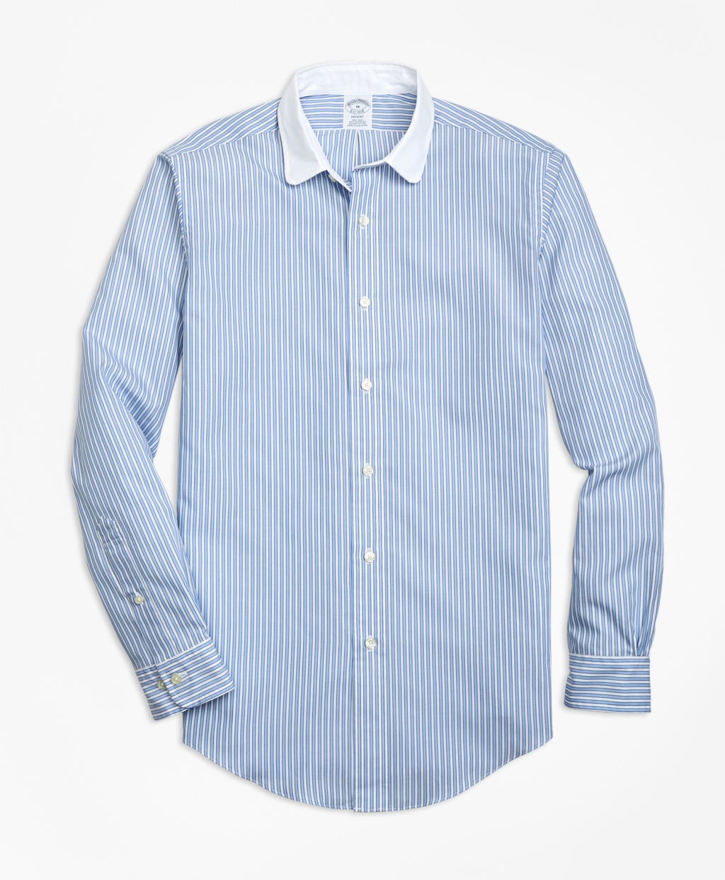 1920s Style Mens Shirts | Peaky Blinders Shirts and Collars Brooks Brothers Regent Fit Outlined Stripe Sport Shirt $92.00 AT vintagedancer.com