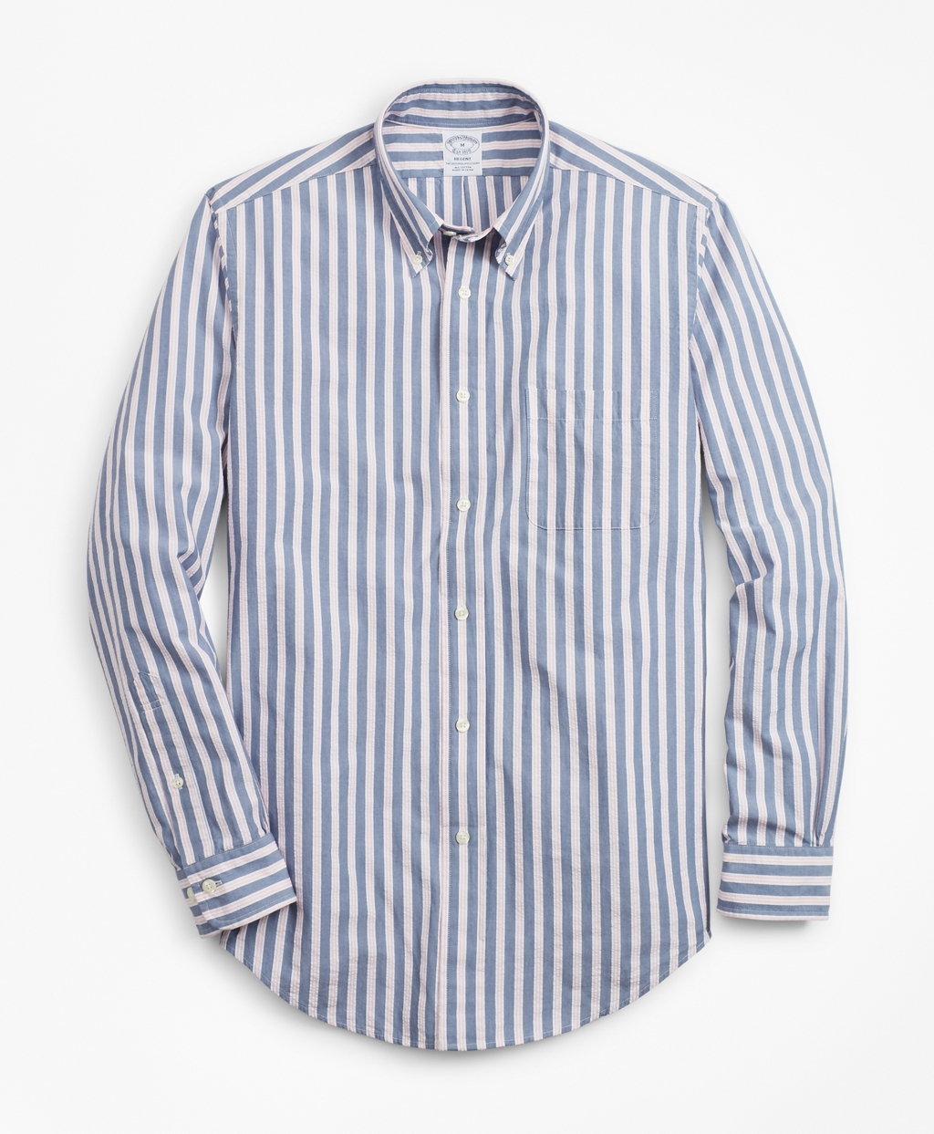 1920s Men's Dress Shirts Brooks Brothers Mens Regent Fit BB1 Stripe Seersucker Sport Shirt $79.50 AT vintagedancer.com