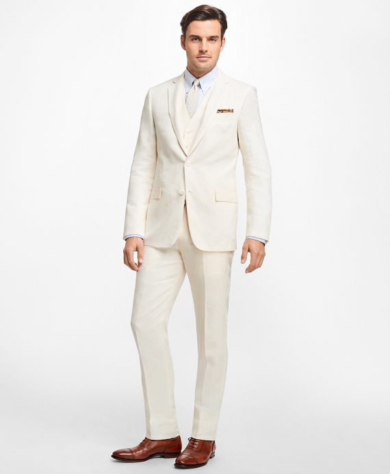 1920s Men's Suits History Regent Fit Three-Piece Linen Suit $798.00 AT vintagedancer.com