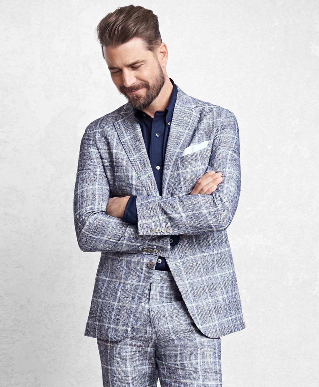 1960s Mens Suits | 70s Mens Disco Suits Brooks Brothers Mens Golden Fleece Navy Glen Plaid Suit $2,498.00 AT vintagedancer.com