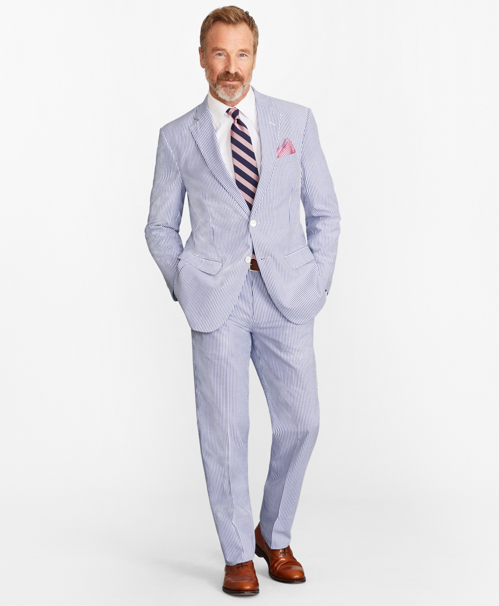 1900s Edwardian Men's Suits and Coats Brooks Brothers Mens Madison Fit Stripe Seersucker Suit $498.00 AT vintagedancer.com
