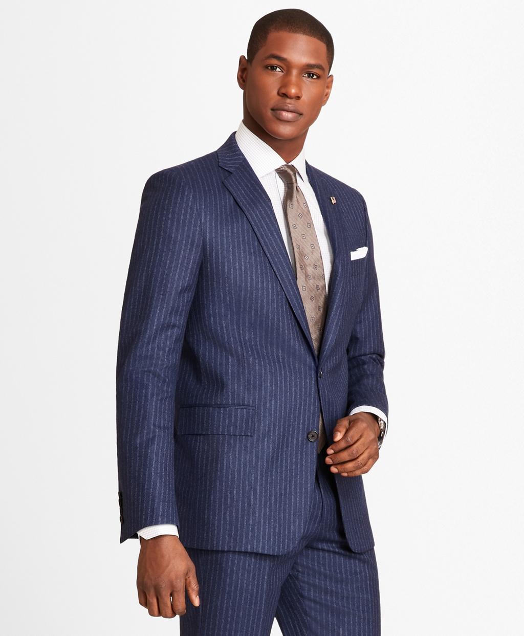 1920s Mens Suits   Gatsby, Gangster, Peaky Blinders Brooks Brothers Mens Regent Fit Double Stripe Flannel 1818 Suit $998.00 AT vintagedancer.com