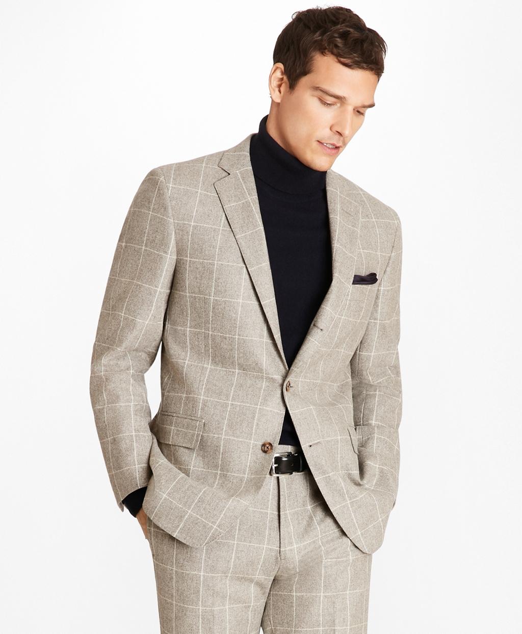 1920s Mens Suits   Gatsby, Gangster, Peaky Blinders Brooks Brothers Mens Regent Fit Windowpane Flannel 1818 Suit $998.00 AT vintagedancer.com