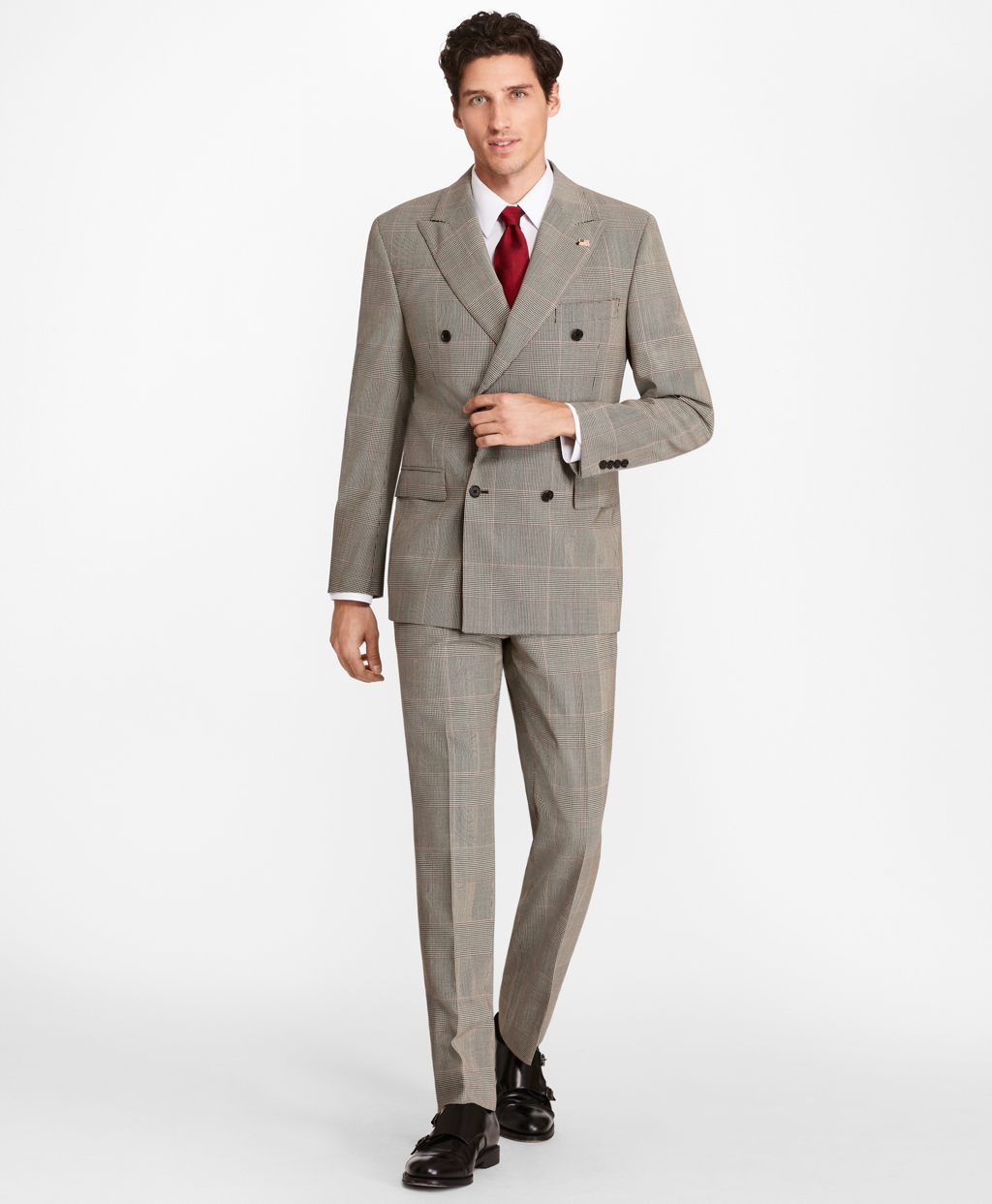 1930s Style Mens Suits Brooks Brothers Mens Regent Fit Double-Breasted Plaid 1818 Suit $1,098.00 AT vintagedancer.com