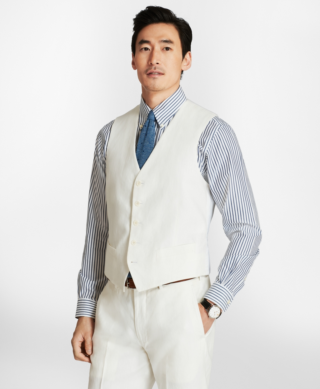 1920s Style Mens Vests Brooks Brothers Mens Five-Button Linen Vest $198.00 AT vintagedancer.com