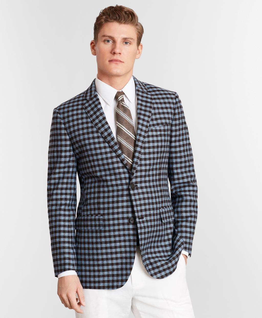 1960s Mens Suits | 70s Mens Disco Suits Brooks Brothers Mens Milano Fit Silk And Linen Check Sport Coat $498.00 AT vintagedancer.com