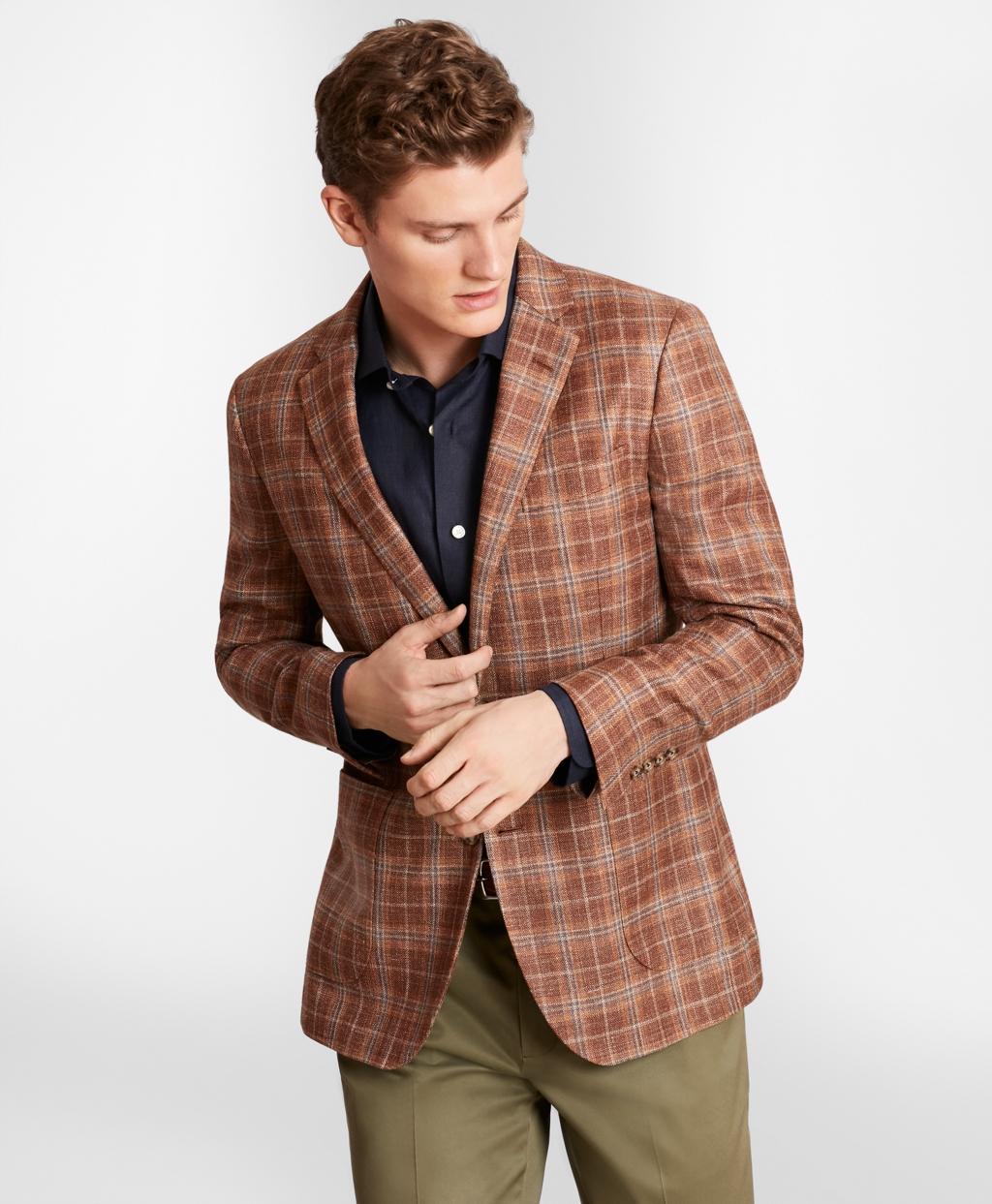 1960s Mens Suits | 70s Mens Disco Suits Brooks Brothers Mens Milano Fit Check Sport Coat $598.00 AT vintagedancer.com