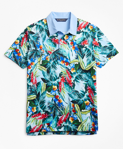 1950s Mens Shirts | Retro Bowling Shirts, Vintage Hawaiian Shirts Slim Fit Bold Tropical Print Polo Shirt $53.70 AT vintagedancer.com