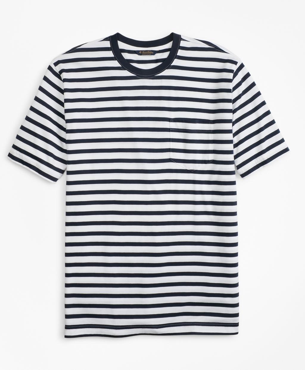 1940s Style Mens Shirts, Sweaters, Vests Brooks Brothers Mens Supima Cotton Stripe T-Shirt $49.50 AT vintagedancer.com