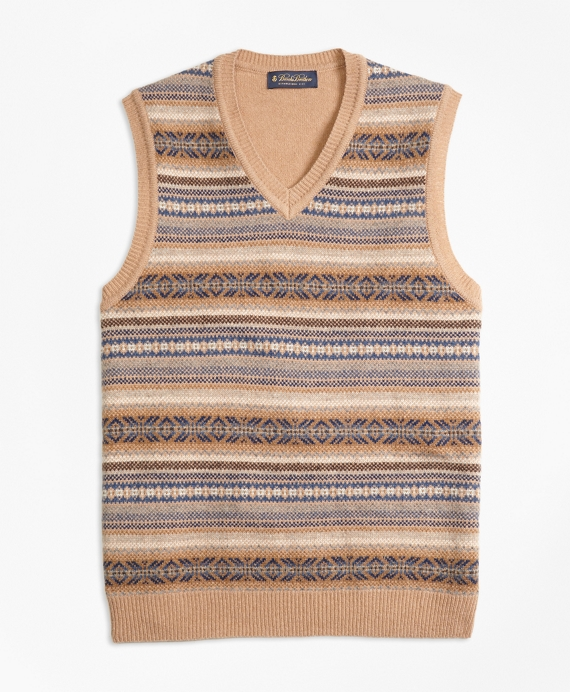 Men's Vintage Style Sweaters – 1920s to 1960s Lambswool Fair Isle Vest $38.40 AT vintagedancer.com