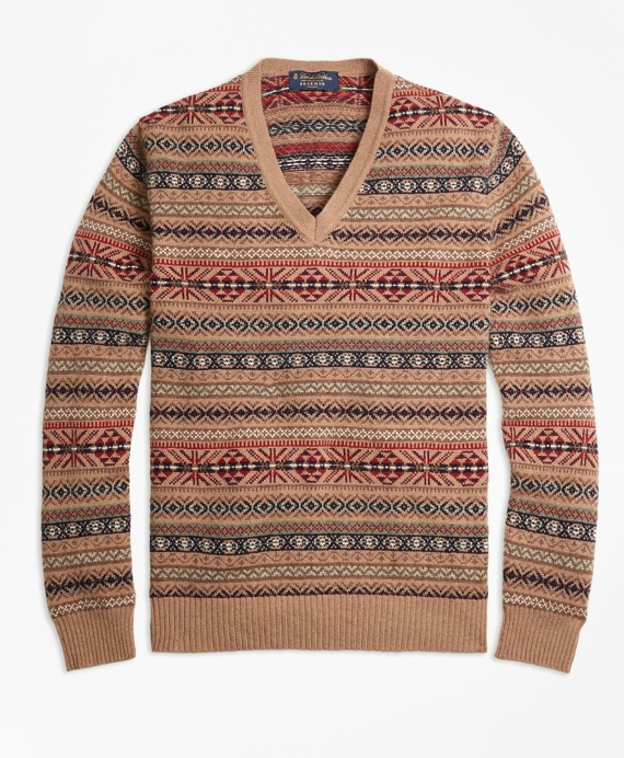 Men's Vintage Style Sweaters – 1920s to 1960s Braemar for Brooks Brothers Fair Isle V-Neck Sweater $398.00 AT vintagedancer.com