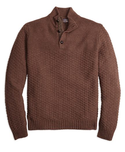 1940s Mens Clothing Braemarâ for Brooks Brothers Button Mockneck Sweater $238.80 AT vintagedancer.com