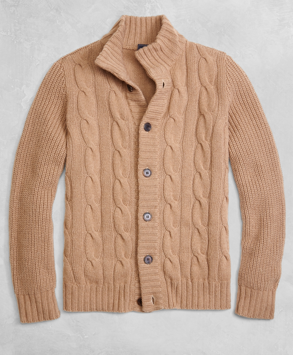 Men's Vintage Style Sweaters – 1920s to 1960s Brooks Brothers Mens Golden Fleece 3-D Knit Camel Hair Cardigan $798.00 AT vintagedancer.com