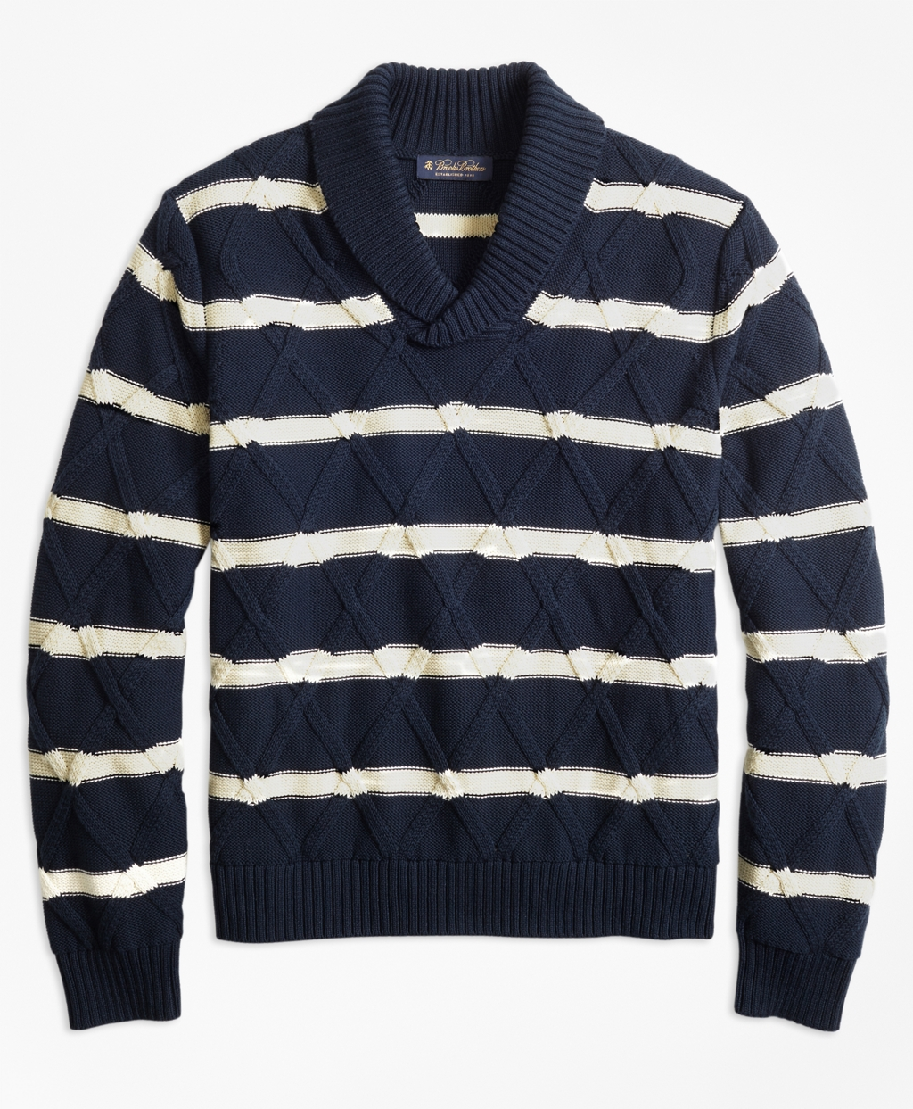 1920s Mens Sweaters, Pullovers, Cardigans Brooks Brothers Mens Nautical Stripe Shawl Collar Sweater $198.00 AT vintagedancer.com