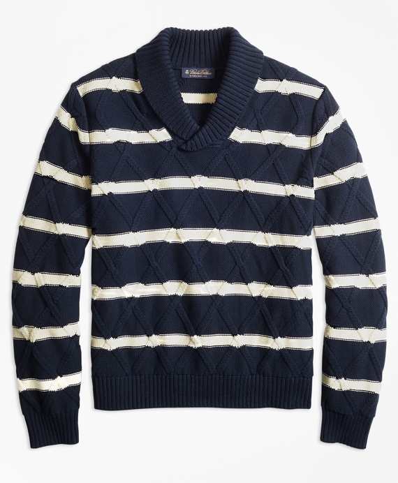 1920s Mens Sweaters, Pullovers, Cardigans Nautical Stripe Shawl Collar Sweater $198.00 AT vintagedancer.com