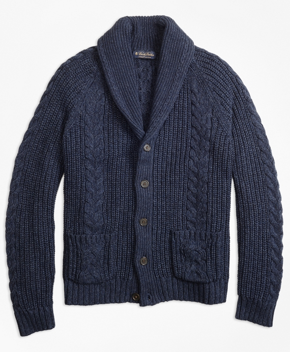 Men's Vintage Style Sweaters – 1920s to 1960s Cable Knit Shawl Collar Cardigan $198.00 AT vintagedancer.com